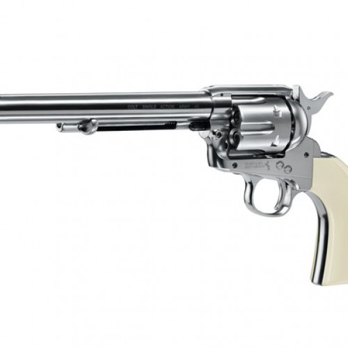"Colt SAA .45-7.5""  nickel with white grip"