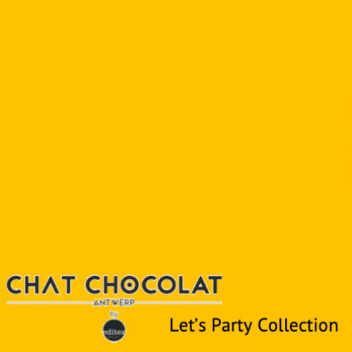 Uni Viscose Let's Party - Yellow - Chat Chocolat